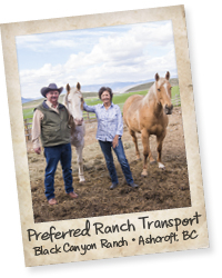 Rob and Pam with their Preferred Ranch Transport - horses!