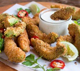 Avocado Fries with Lime Cilantro Dip