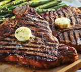 Grilled T-Bone Steak with Lemon Dill Butter & Asparagus