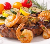 NY Steaks with Spicy Cajun-style Shrimp