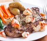 Strip Loin Steaks with Sauteed Lobster
