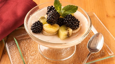 Almond Panna Cotta with Maple-sweetened Fresh Fruit