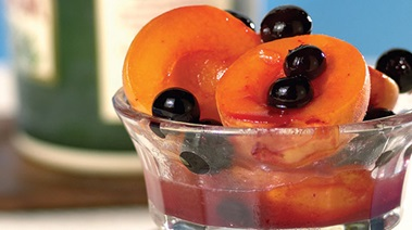 Apricots in Rum and Blueberry Butter Sauce