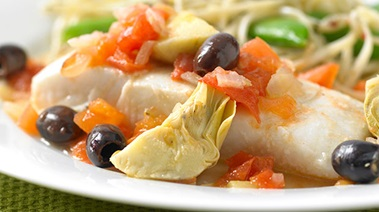 Baked Halibut with Artichoke and Tomato Sauce