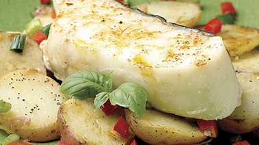 Baked Halibut on Mediterranean-style Pan-fried Potatoes