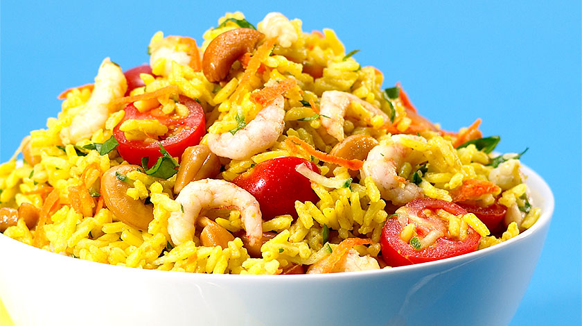 Basmati Rice Salad with Shrimp, Curry and Cashews