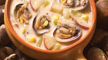 BC Clam Chowder with Corn and Potatoes