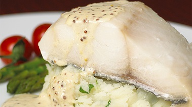 Baked Sablefish with Scallion Mashed Potatoes and Grainy Mustard Sauce
