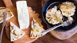 Cambozola Cheese with Grilled Pita and Barbecue Roasted Garlic