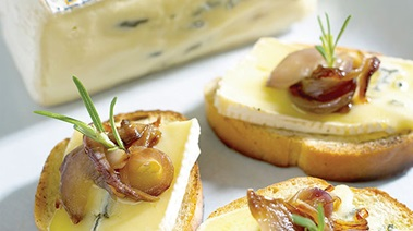 Caramelized Onion and Cambozola Cheese Crostini