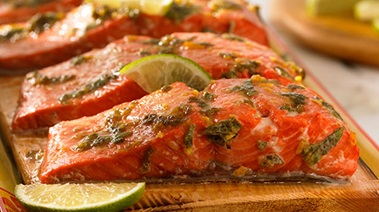 Cedar Plank Salmon with Margarita Marinade