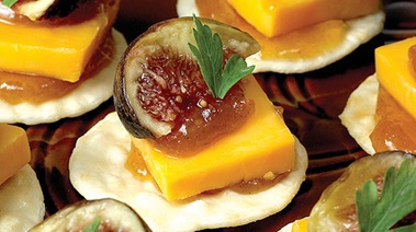Cheddar, Fig and Chutney Canapes