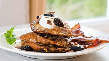 Cherry Chocolate French Toast with Boozy Maple Syrup