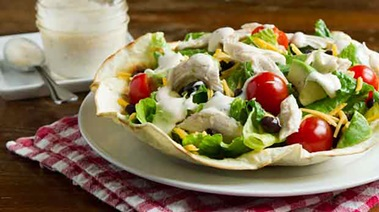Chicken Tostado Salad with Chili-spiced Ranch Dressing
