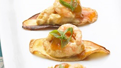 Curried Shrimp on Sweet Potato Chips with Chutney