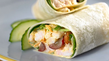 Curried Shrimp Wraps with Grapes and Almonds