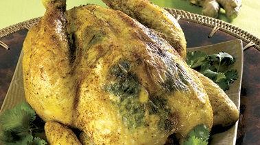 Curry-Rubbed Roast Chicken with Fresh Ginger and Cilantro