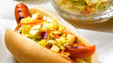 European-style Wieners with Sweet and Sour Coleslaw