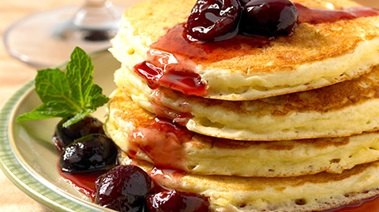 Fluffy Pancakes with Fresh Cherry Sauce