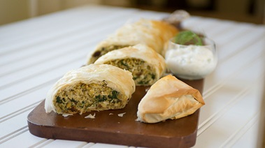 Freekeh, Spinach and Feta Phyllo Strudel