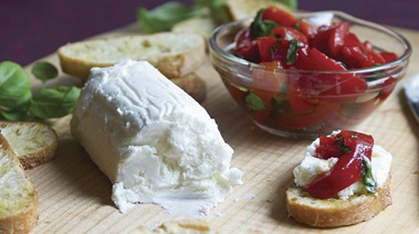 Goat Cheese with Marinated Roasted Red Peppers