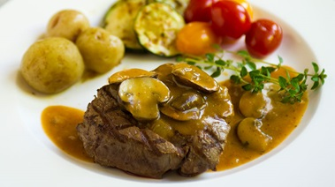 Grilled Tenderloin Steaks with Mushroom Wine Sauce