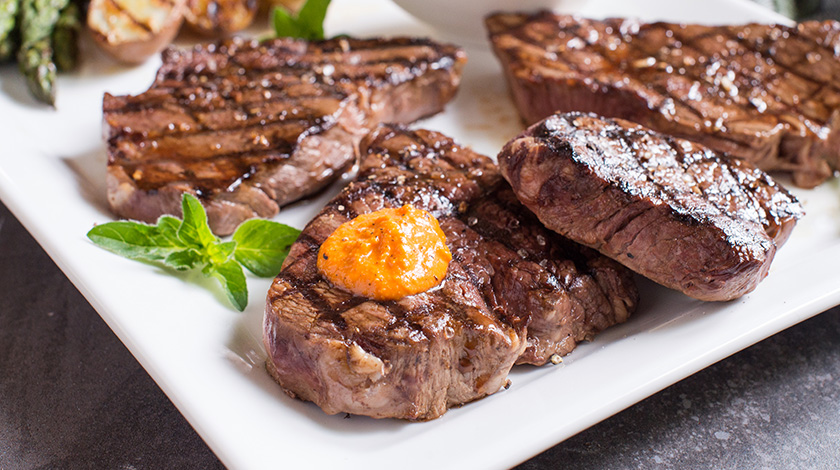 Grilled Top Sirloin Steak with Romesco Sauce