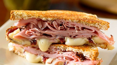Grilled Whole Grain Sandwiches with Ham, Camembert and Cranberry