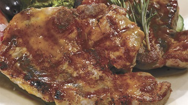 Grilled Pork Chops with Apricot and Mustard Glaze