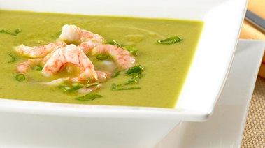 Hot Avocado Soup with Curry and Shrimp