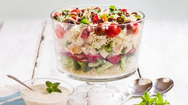 Layered Pasta Salad with Greek Yogurt Dressing