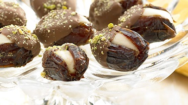 Marzipan-stuffed Dates Coated in Chocolate