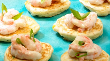 Mini Corn Cakes with Shrimp