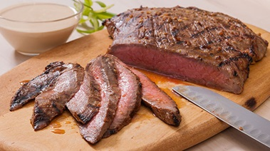 Miso-marinated Flank Steak with Sesame Ginger Sauce