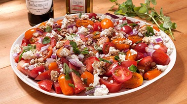 Mixed Tomato Salad with Feta, Capers and Oregano
