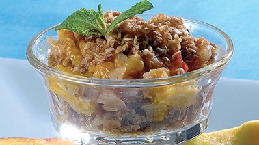 Nectarine Crumble with Candy Ginger and Cardamom