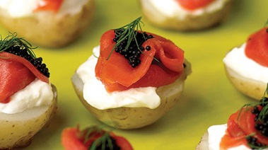 Nugget Potatoes with Smoked Salmon, Sour Cream and Caviar