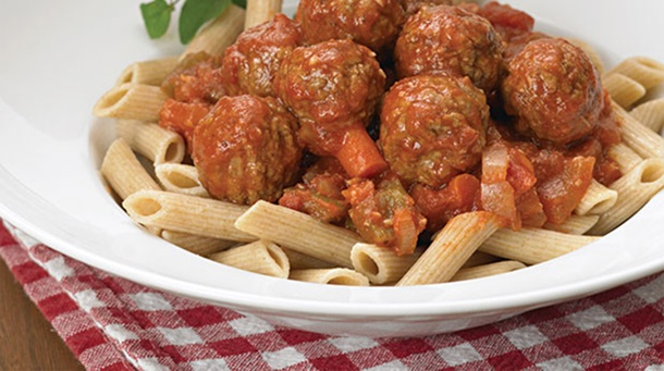 Oh Naturel! Meatless Meatballs with Roasted Garlic Tomato Sauce