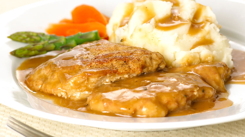 Pork Cutlets with Pan Gravy and Garlic Mashed Potatoes