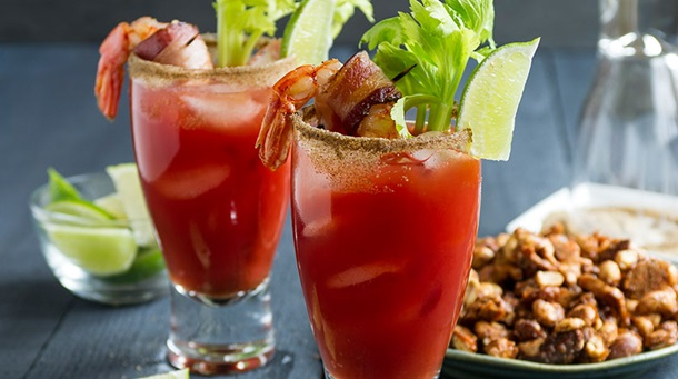 Caesars with Bacon Wrapped Prawns