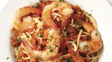 Prawns Marinara on Linguini