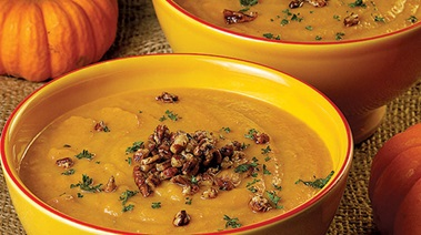 Pumpkin and Carrot Soup with Spicy Toasted Pecans