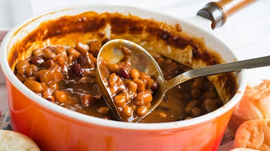 Quicker Baked Beans with Maple Ham