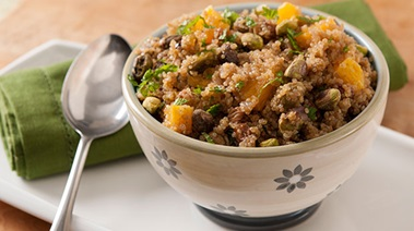 Quinoa Pilaf with Raisins, Olives and Pistachios