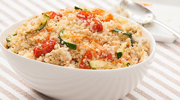 Quinoa Salad with Roasted Tomatoes, Grilled Zucchini and Goat Cheese