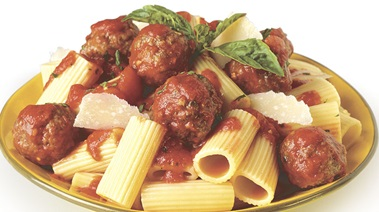 Rigatoni with Meatballs in Basil Garlic Tomato Sauce