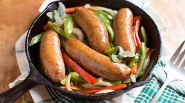 Roasted Sausages with Onions and Peppers