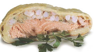 Steelhead Salmon and Shrimp Baked in Puff Pastry