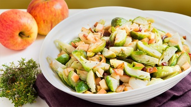 Sauteed Brussels Sprouts with Smoky Bacon and Apple