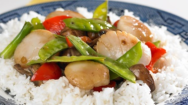 Scallop, Snow Pea, and Mushroom Stir-fry